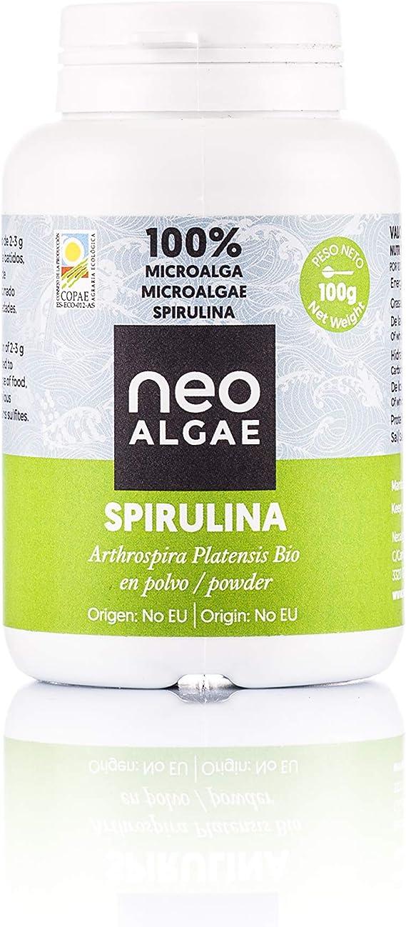 Spirulina Orgánica En Polvo 100 gramos | Apto Para Veganos | 100% natural, sin aditivos | Neospirulina: Amazon.es: Alimentación y bebidas