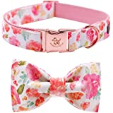 Elegant little tail Dog Collar with Bow, Cotton & Webbing, Bowtie Dog Collar, Adjustable Dog Collars for Small Medium…