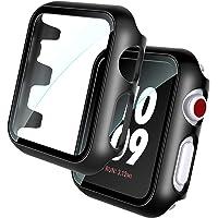 TOCOL 2-pak czarne twarde etui zintegrowany ochraniacz ekranu ze szkła hartowanego kompatybilny z Apple Watch Series 6 5…