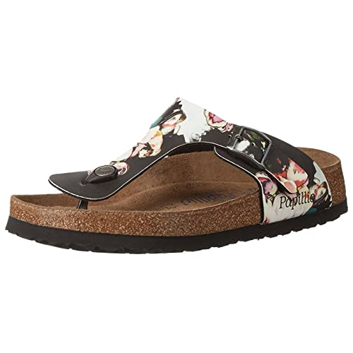 d748a193dac5 Papillio Womens by Birkenstock Gizeh Painted Bloom Black Synthetic Sandals  41 EU
