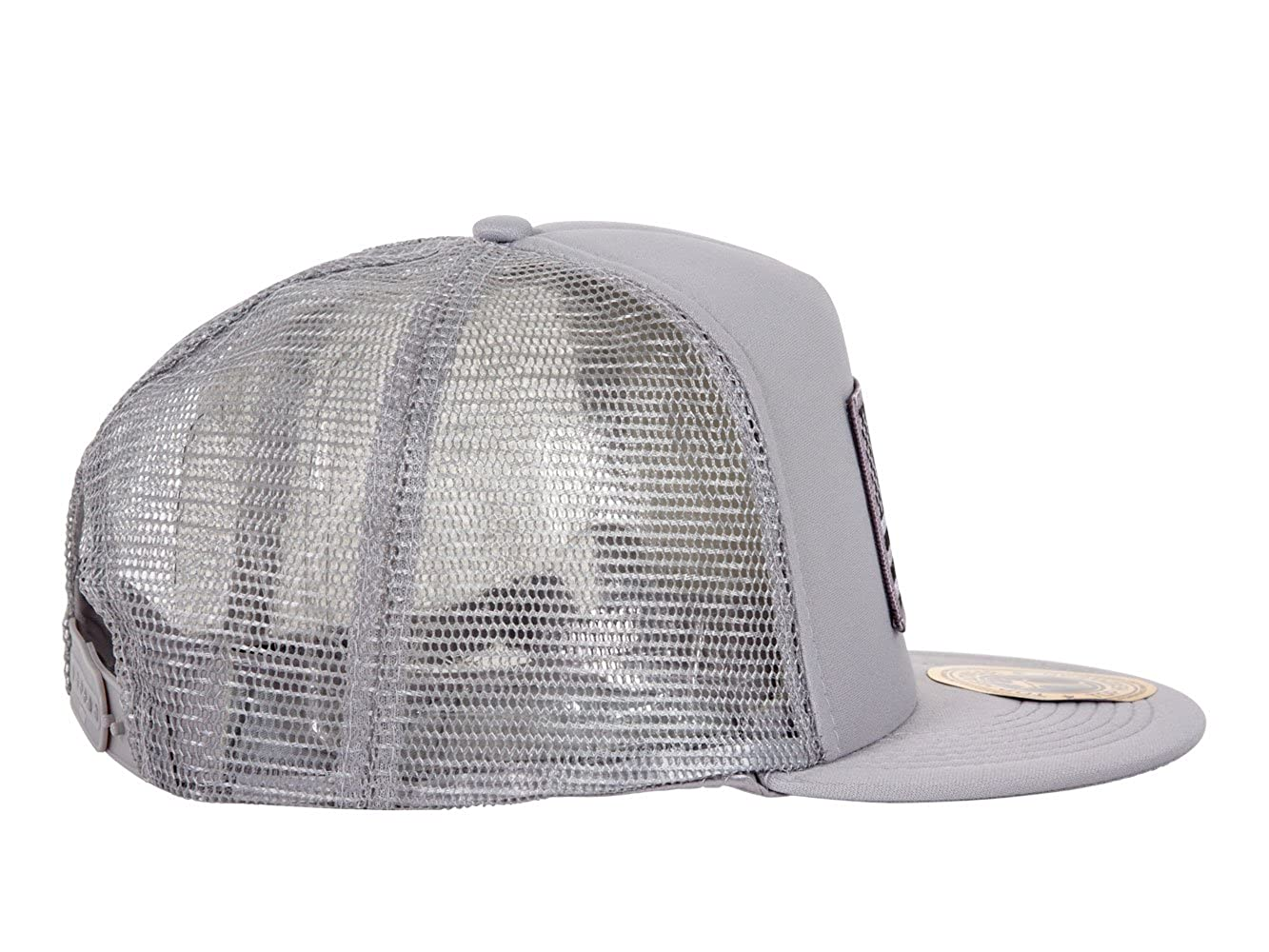 6c2ca917d0a TOP HEADWEAR USA Flag Flat Bill Trucker Mesh Hat - Grey at Amazon Men s  Clothing store