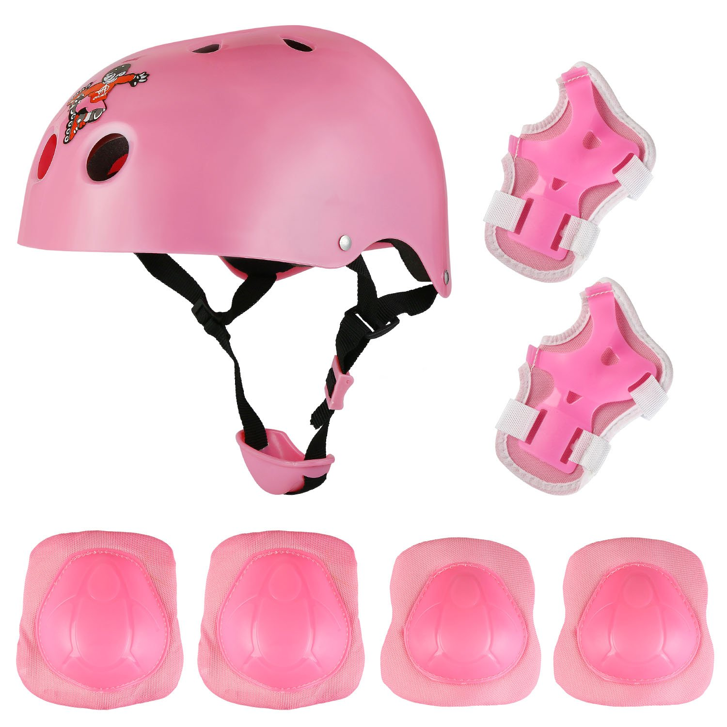 AODI Child's Protective Pads Sports Support Safety Set Equipment with Knee Elbow Pads Wrist Guards and Helmet for Scooter and Rollerblading - Multiple Colors
