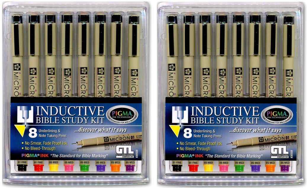 Pigma Micron 01 Fine & 05 Medium Point Inductive Bible Study Kit (2) by G.T. Luscombe Company, Inc.
