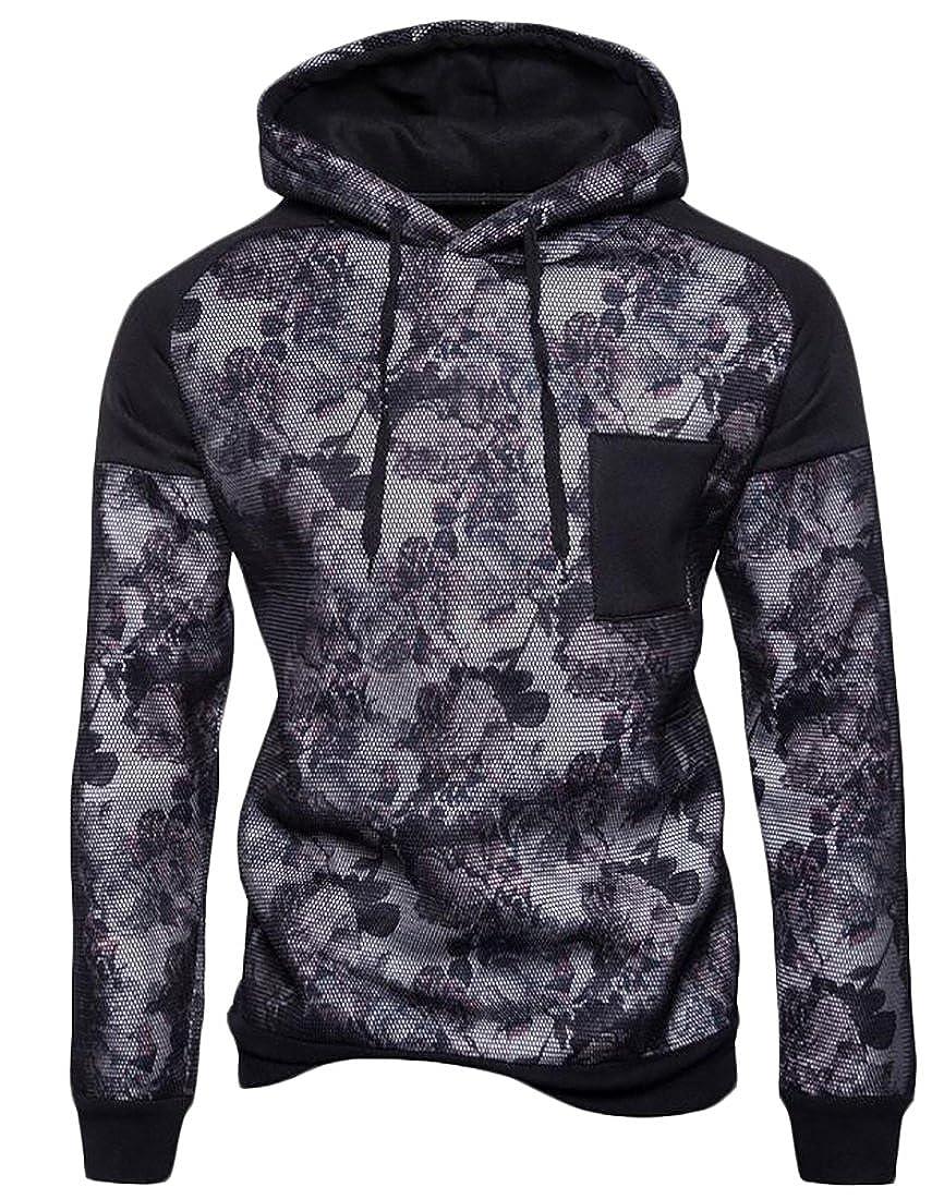 Macondoo Mens Printed Long Sleeve Spliced Basic Pullover Hoodie Sweatshirt