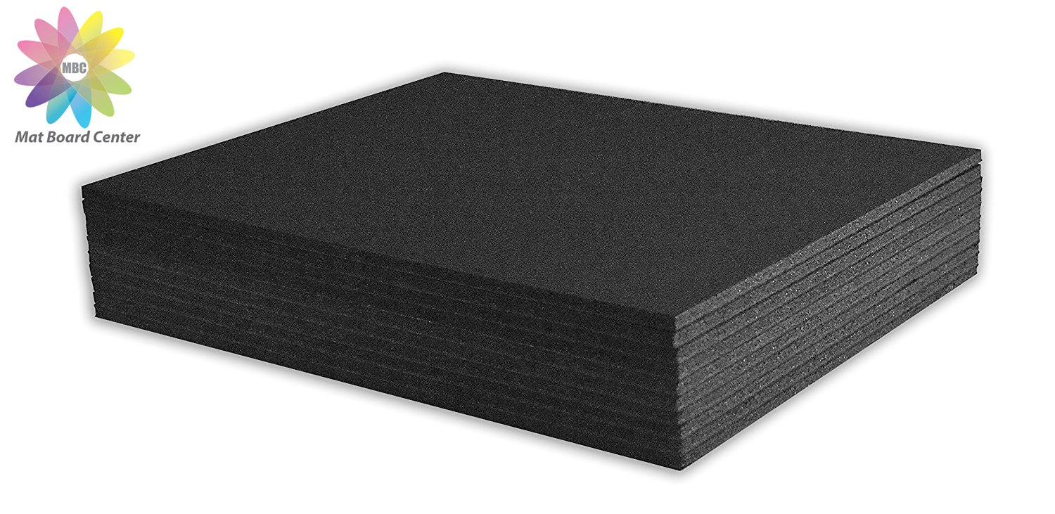 Mat Board Center, Pack of 10 11x14 3/16 BLACK Foam Core Backing Boards