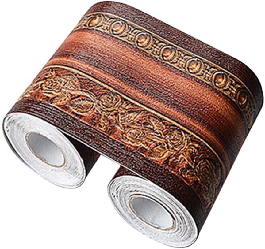 Brown Wood Grain Self Adhesive 3D Peel and Stick Waterproof Wall Border Easy to Apply (Dark Brown 1pc)
