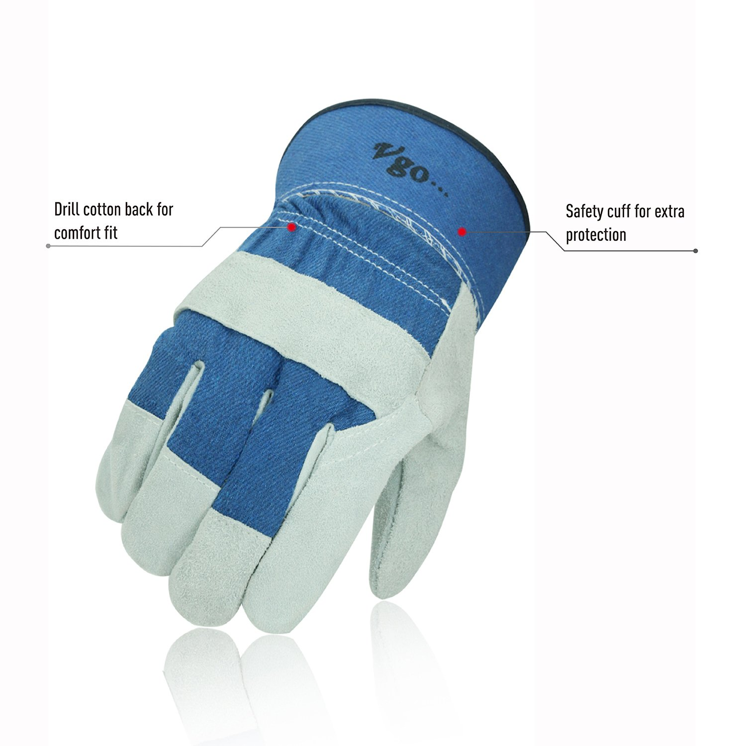 Vgo 3 Pairs 0 ℃ //32 ℉ or Above Winter Cowhide Split Leather Work and Driver Gloves Size L, Blue, CB3501F for Heavy Duty//Truck Driving//Warehouse//Gardening//Farm Working Gloves