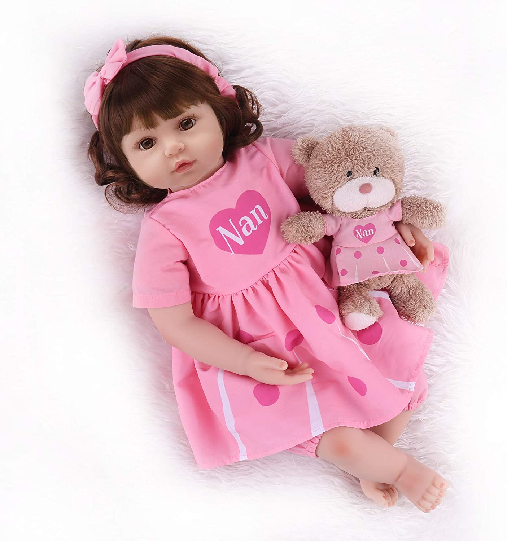 Lifelike Newb... 18 inch Full Body Silicone Baby Girls CHAREX Reborn Baby Doll