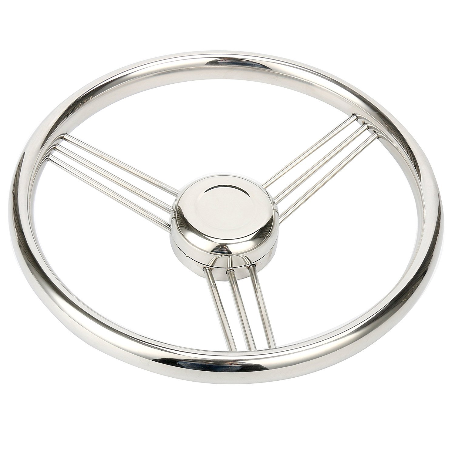 Amarine-made 13.5 Inch 9 Spoke Stainless Boat Steering Wheel - 10 Degree - 9500S380