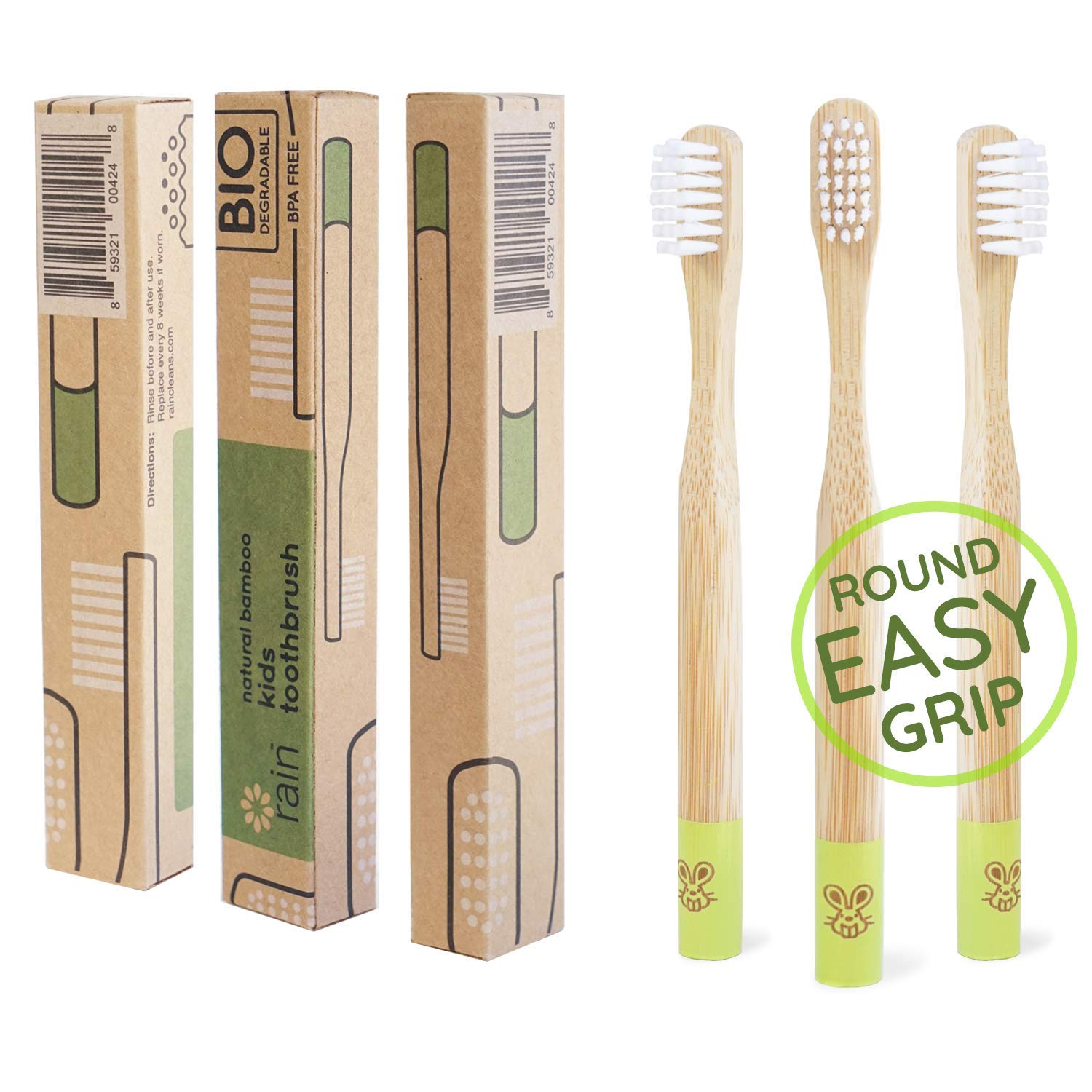 Rain Organic Bamboo Baby Toothbrush - 100% Safe Infant Toddler Kids Toothbrush 6 to 12 Months and Up, Natural BPA-Free Biodegradable Wood Toothbrush Extra Soft Bristles Children's Dental Care (3 Pack)