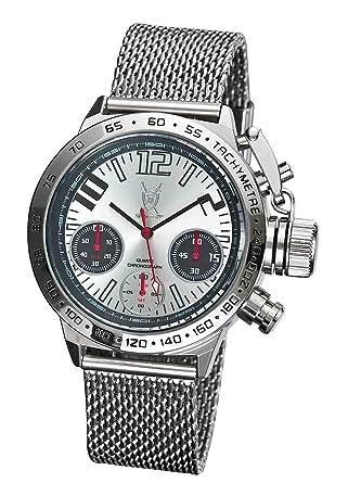 mens designer watch chronograph big face silver mesh bracelet mens designer watch chronograph big face silver mesh bracelet konigswerk aq100121g