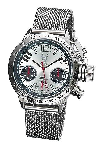 Reloj Cronógrafo de Hombre de Diseño, con Números Grandes y Pulsera de Malla Plateada de Konigswerk AQ100121G: Amazon.es: Relojes