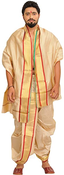 Exotic India Ready to Wear Dhoti and Veshti Set with Woven Golden Border Men's Kurta Sets at amazon