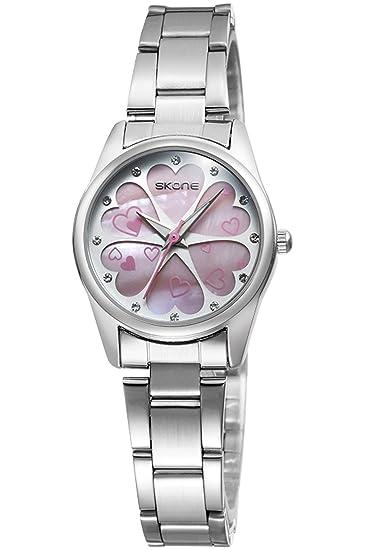 Skone Mujer Relojes Rosa Estilo Minimalista Elegante Analogico Quartz Relojes de Mujer: Amazon.es: Relojes