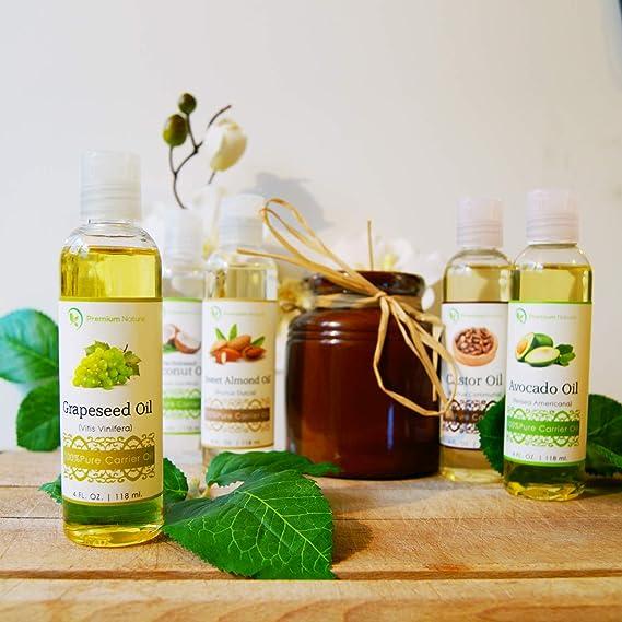 Juego de regalo de aceites naturales Premium Nature aceite de coco – aceite de ricino – aceite de semilla de uva – aceite de aguacate y aceite de almendras ...