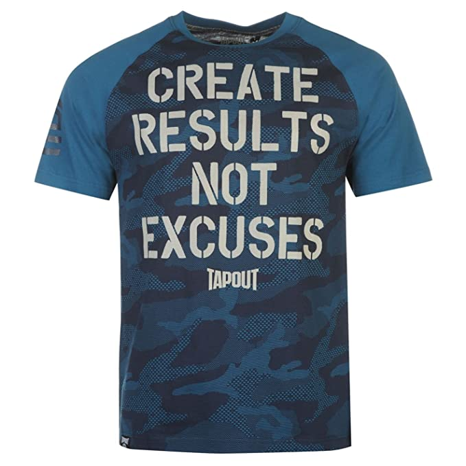 8f3d3d3f5f8d TapouT Create Results Not Excuses T-Shirt Mens Teal/Navy Top Tee Shirt Large