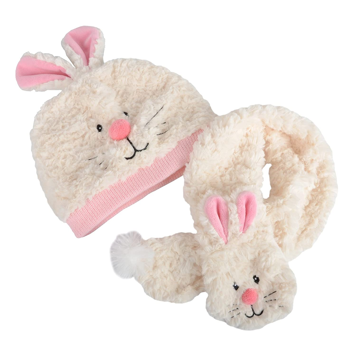 Kids Young Childrens Animal Rabbit Bunny Hat & Matching Scarf Set Extra Soft New XSS