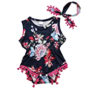 Cute Adorable Floral Romper Baby Girls Sleeveless Tassel Romper One-pieces +Headband Sunsuit Outfit Clothes (0-6 Months, Dark Blue)