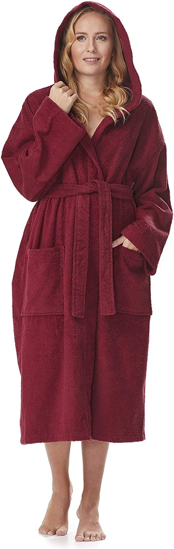 f/ür Damen und Herren mit Kapuze Bademantel Astra wadenlang oder kn/öchellang 100/% Baumwolle-Frottee Hausmantel Morgenmantel Saunamantel Damenbademantel Herrenbademantel /ÖKO-TEX Zertifiziert