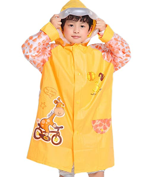 on feet images of bottom price size 7 ES-UK Kids Boys & Girls Raincoat Yellow - Blue - Pink Age 3-9 Years