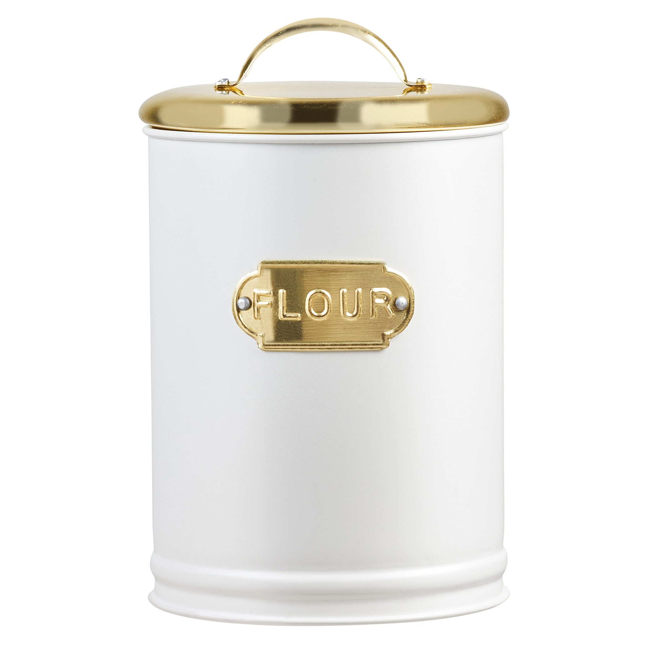 Amici Home, A5IP001R, Madison Collection Coffee Metal Storage Canister, Relief Label, Push Top Lid, Food Safe, Medium, 32 Ounces