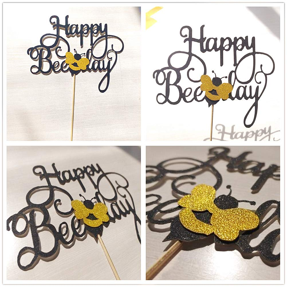 JeVenis Bumble Bee Cake Topper Happy Bee Day Cake Topper Bee Cake ...