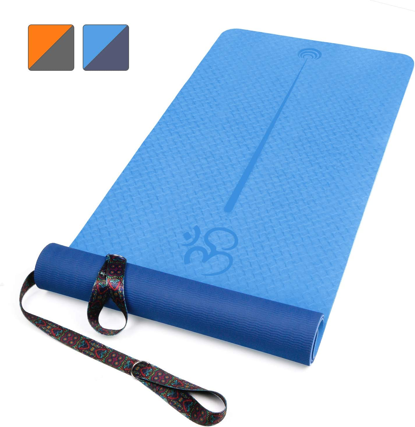 XGEAR Yoga Mat with Carrying Strap - Non-Slip Textured Surface- Eco Friendly TPE Exercise Workout Mat- Exercise & Fitness Mat with Alignment Line for ...