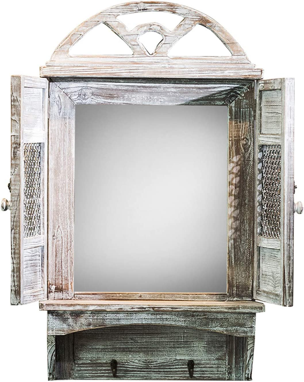 Xcxdx Wall Mirror Shabby Antique Rectangular Mirror With Storage Panel Unique Wall Mounted Window Mirror For Decor Amazon Co Uk Kitchen Home