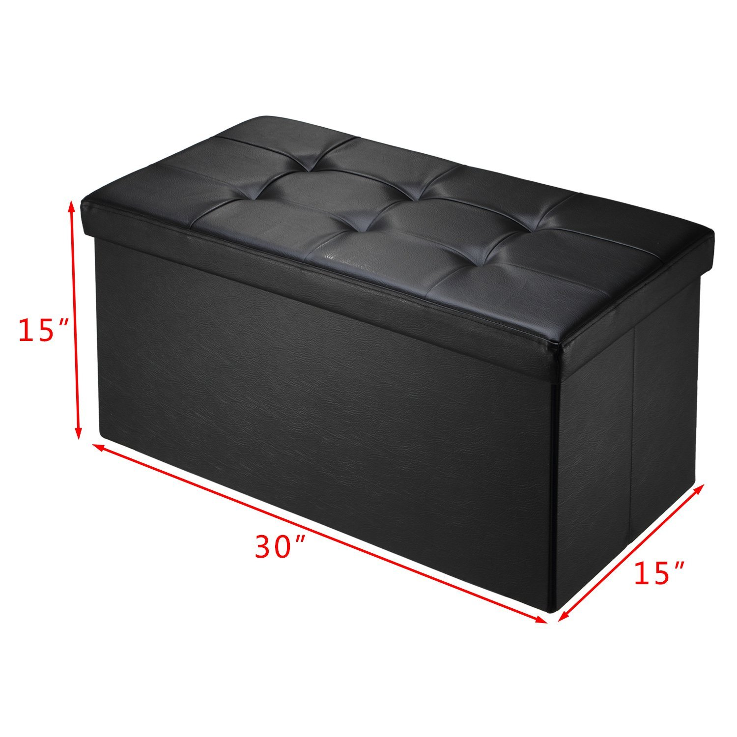 Ollieroo Faux Leather Folding Storage Ottoman Bench Foot Rest Stool Seat Black 30''X15''X15'' by Ollieroo (Image #7)