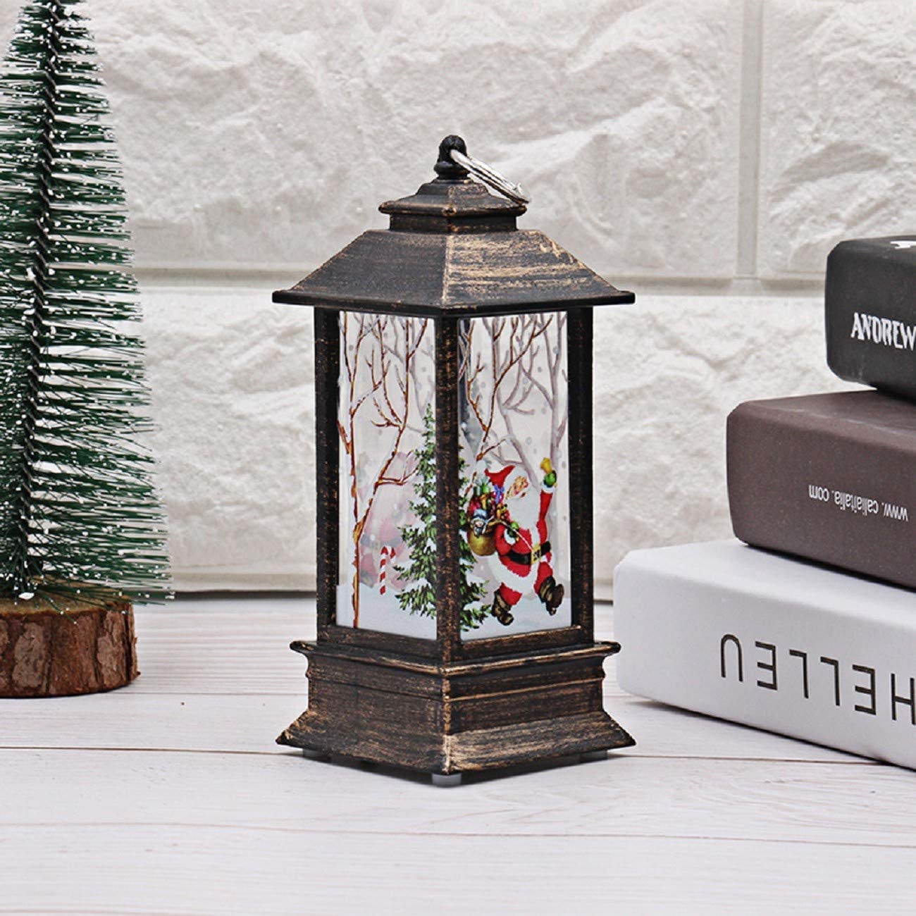 JKLING 1pcs Christmas Vintage Faux Candle with LED Night Light for Christmas Graphic Print Outdoor Decoration Pendant