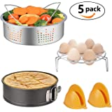 Instant Pot Accessories Set with Stainless Steel Steamer Basket, Egg Steamer Rack, Non-stick Springform Pan, Steaming Stand, 1 Pair Silicone Cooking Pot Mitts Fits 5,6,8 Quart Qt Instant pot Pressure Cooker (5 in 1) By MIBOTE
