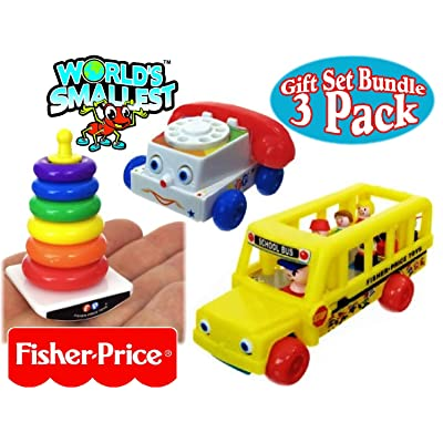 Fisher-Price World's Smallest Chatter Telephone, Rock-A-Stack & Little People School Bus Complete Gift Set Party Bundle - 3 Pack: Toys & Games