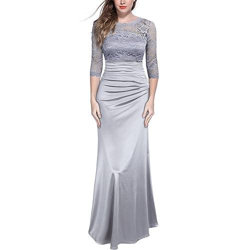 MIUSOL Womens Off Shoulder Lace Pleated Long Wedding Dress