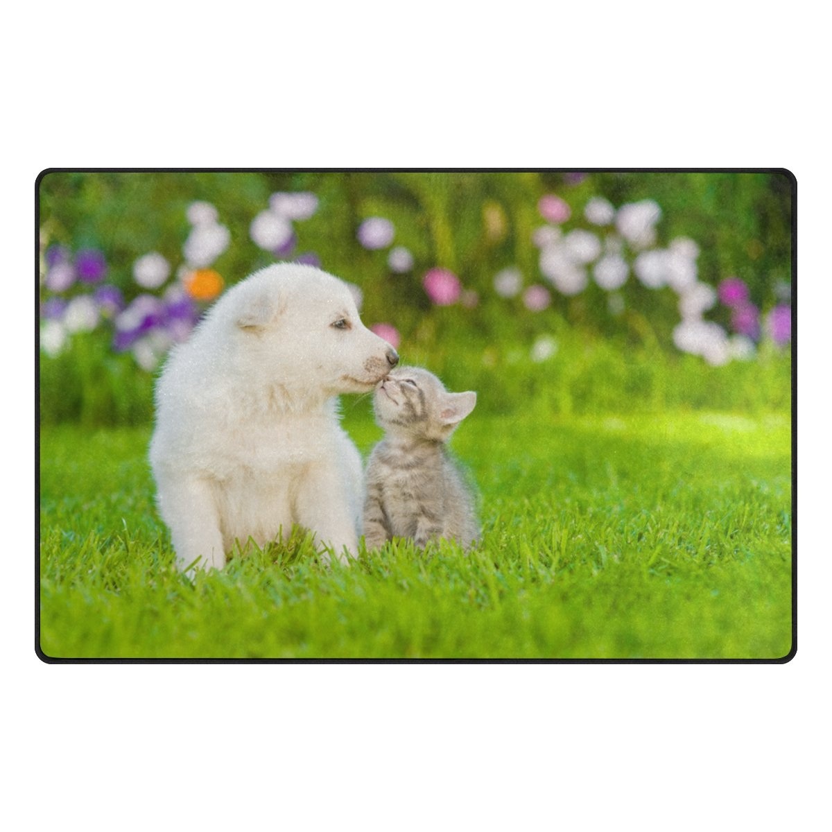 ColourLife Lightweight Non Slip Carpet Mats Area Soft Rugs Floor Mat Rug Decoration for Kids Room Living Room 60 x 39 inches White Dog Kissing Kitten