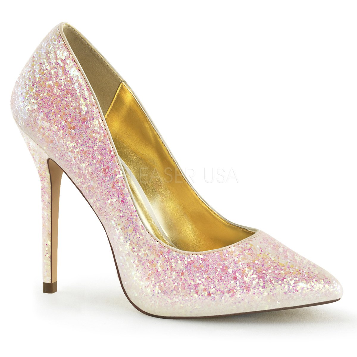Fabulicious Pleaser Amuse-20G sexy High Heels Glitter Pumps Rosa 35-45 Übergröße