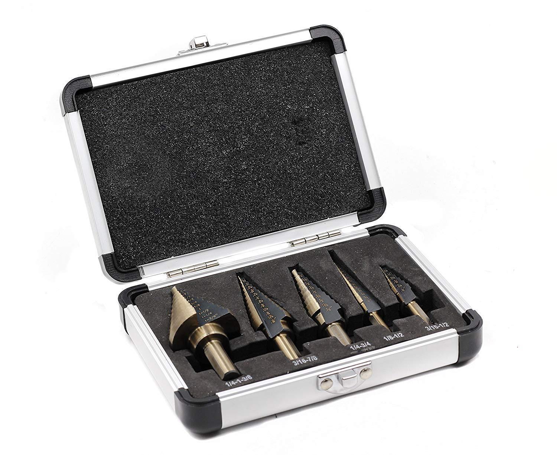Step Drill Bit Set 5pcs JESTUOUS Unibit HSS Cobalt Tools 2 Flute 3 Side Shank Design Multiple Hole 50 Sizes
