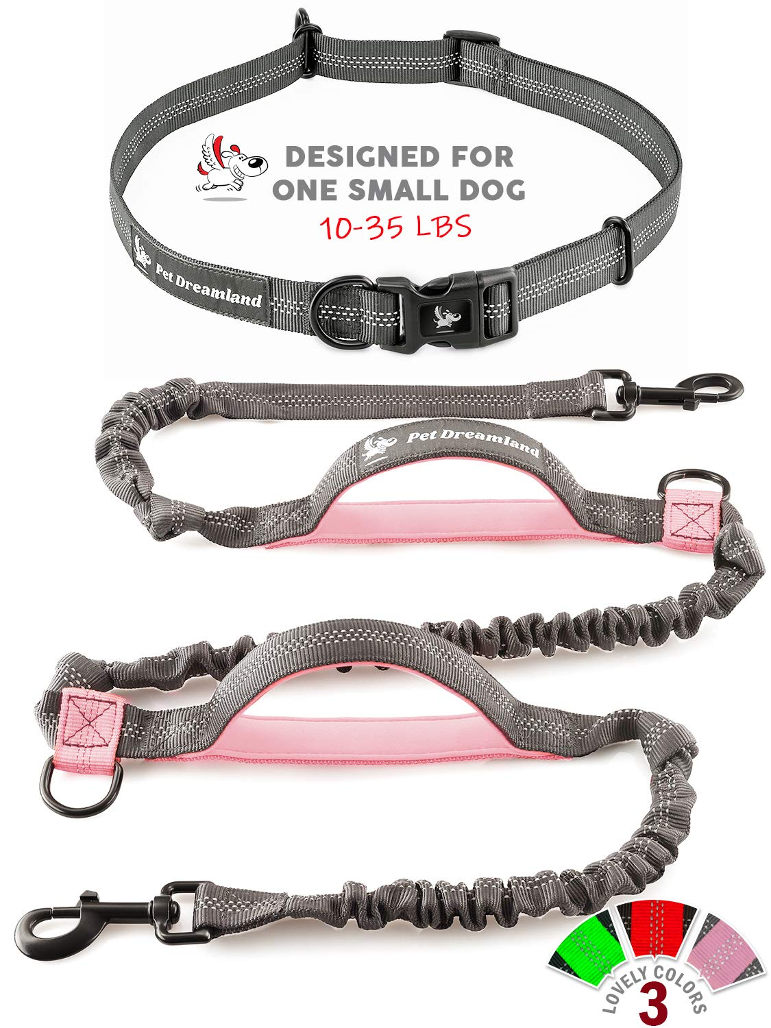 Pet Dreamland Running Dog Leash for Small Dogs - Walking Hiking Training - Extra Long Bungee Dog Lead - Reflective Leashes for Small Dogs (Grey & Pink)