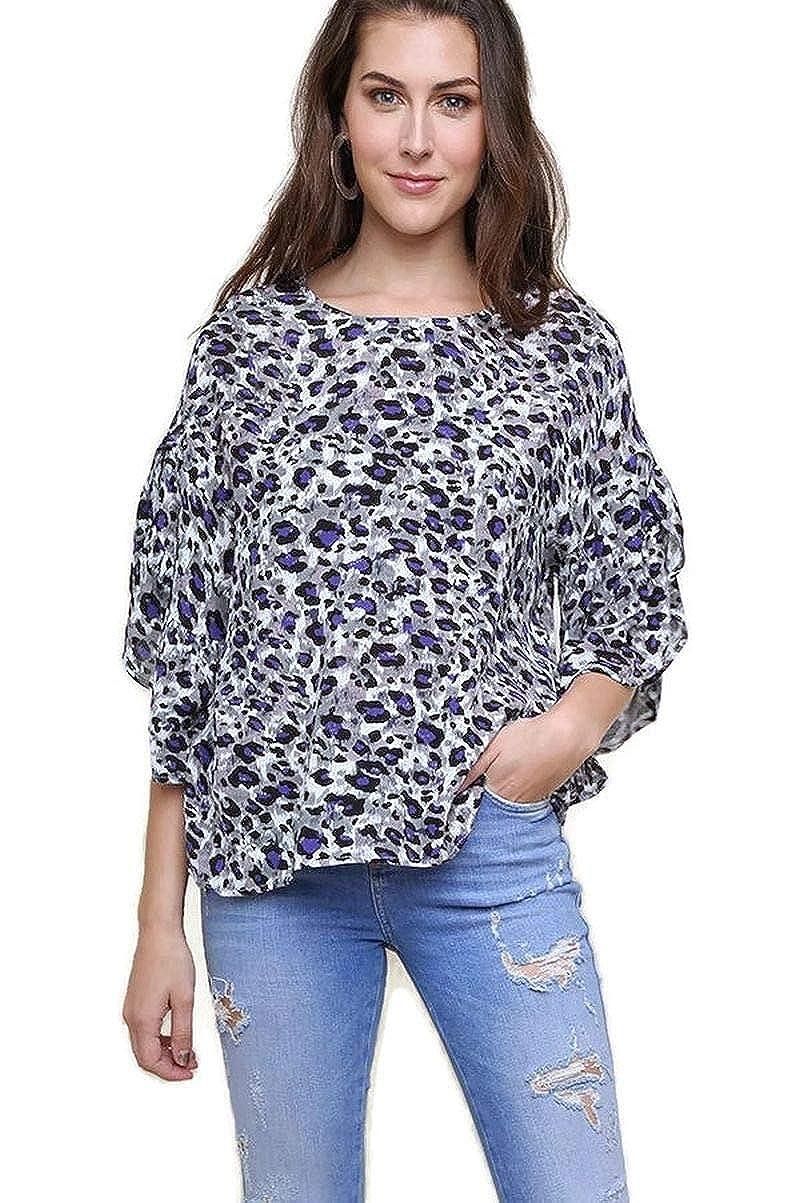 Purple Mix umgee USA Women's Leopard Print Top with Split Ruffle Sleeves