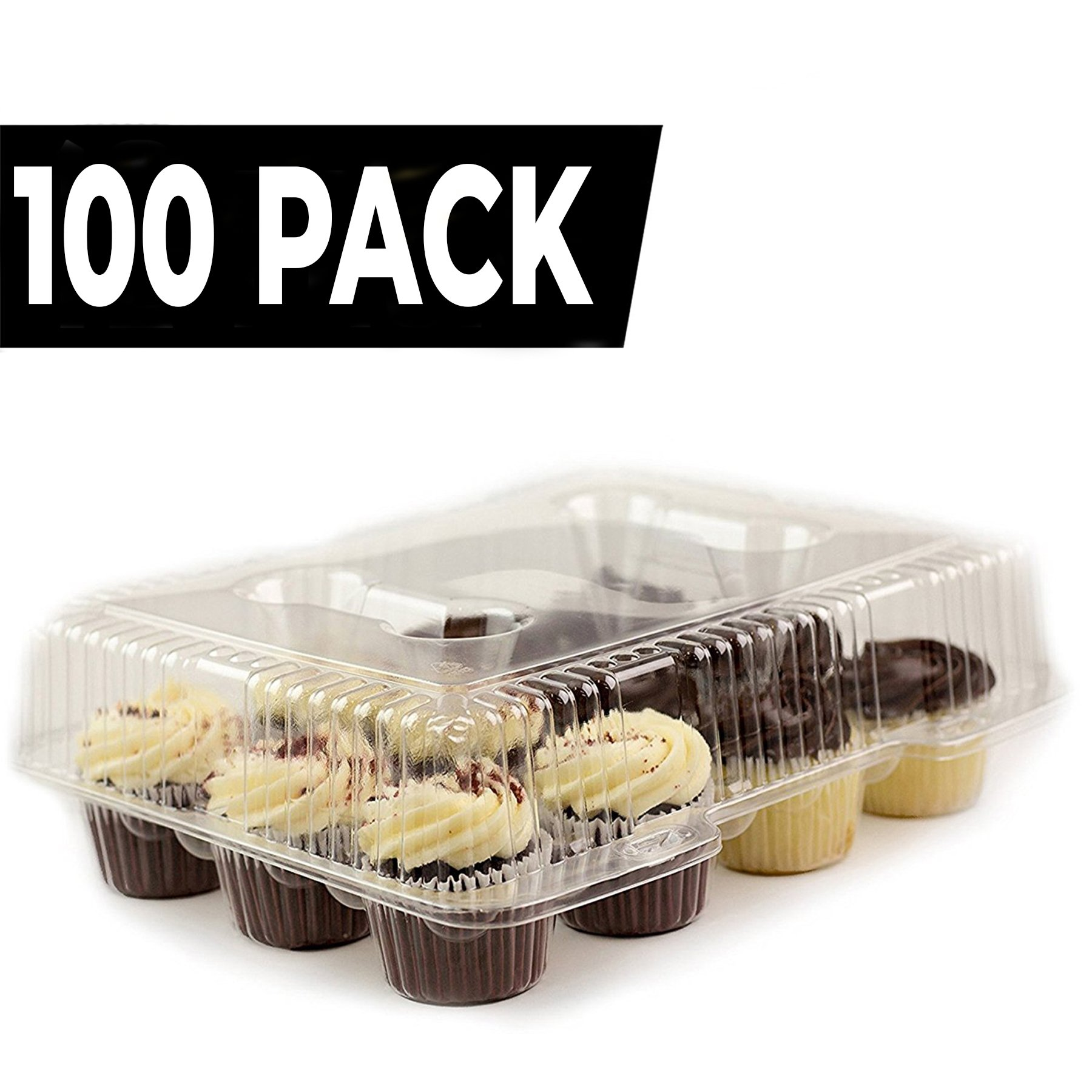 Chefible 12 Cupcake Container, Takeout Container, Cupcake Carrier, 10 Pack (100)