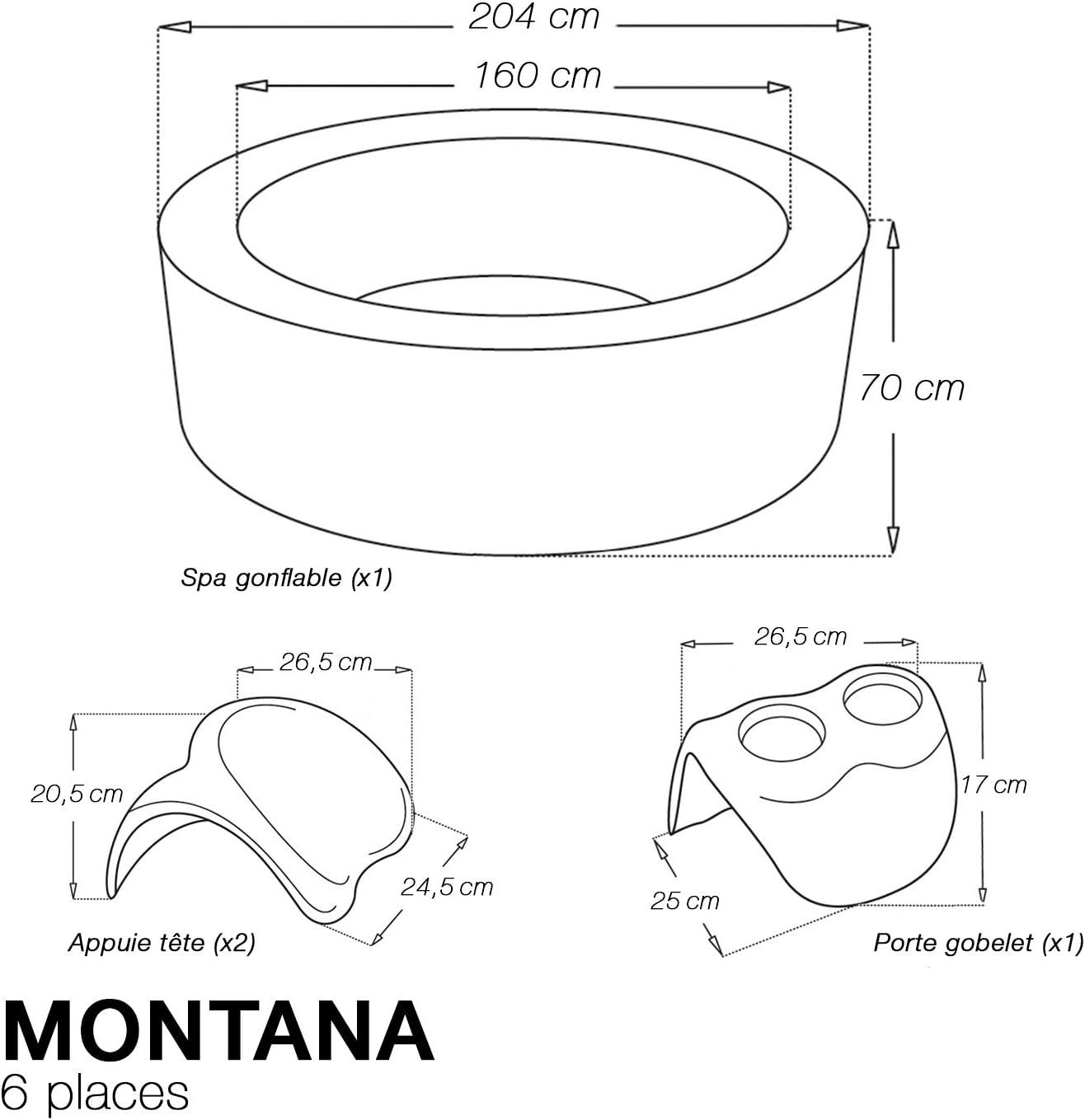 /6/plazas/ /negro 1/portavasos 2/reposacabezas Spa redondo hinchable Montana/