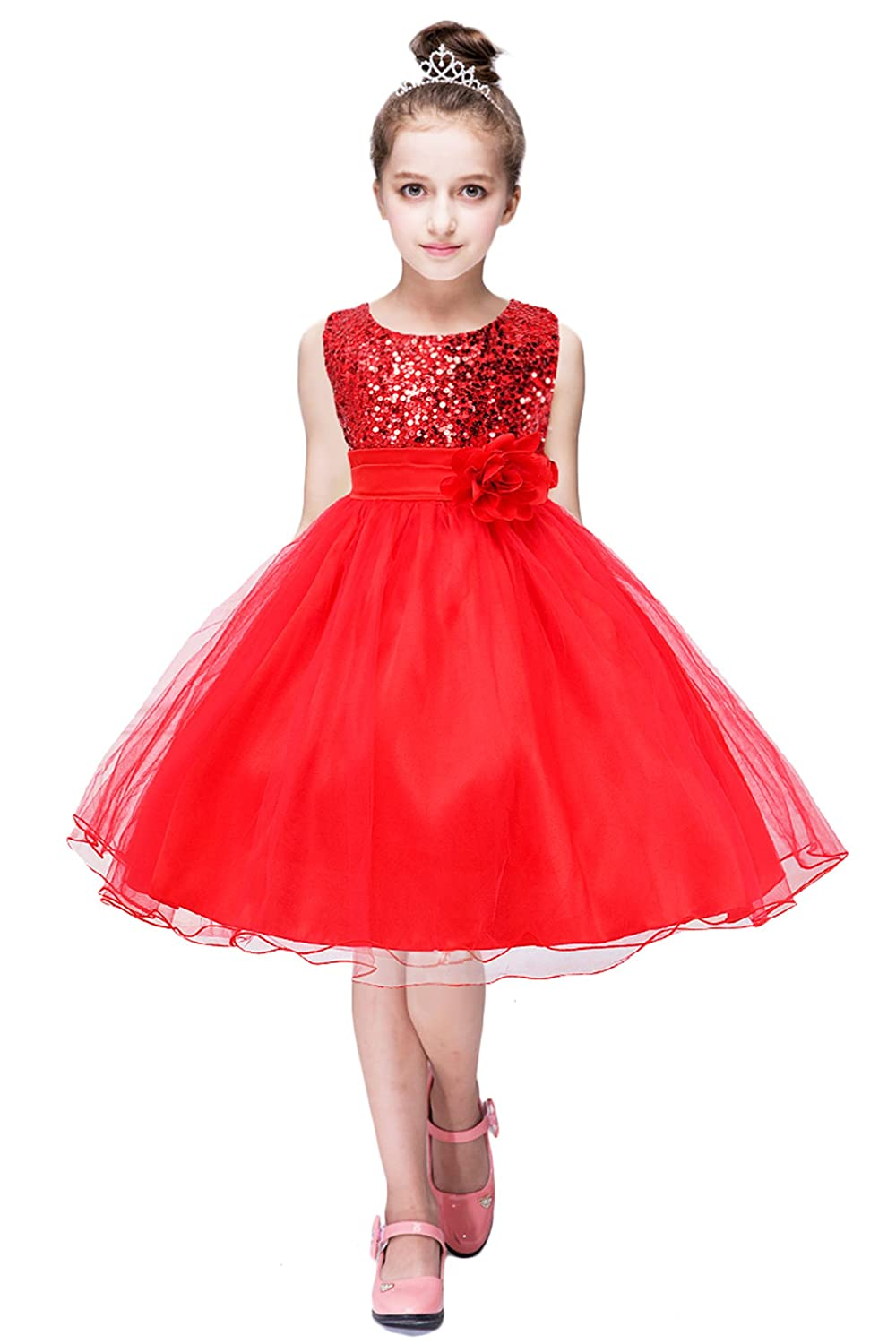 YMING Girls Flower Sequin Princess Dress Sleeveless Tutu Tulle Birthday Party Dress