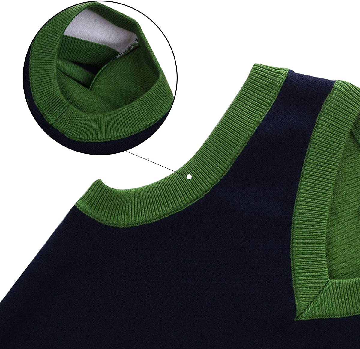 Happy Cherry Kids Pullover Round Neck Faux Stripe Tie Knit Fashion Sweater Vest