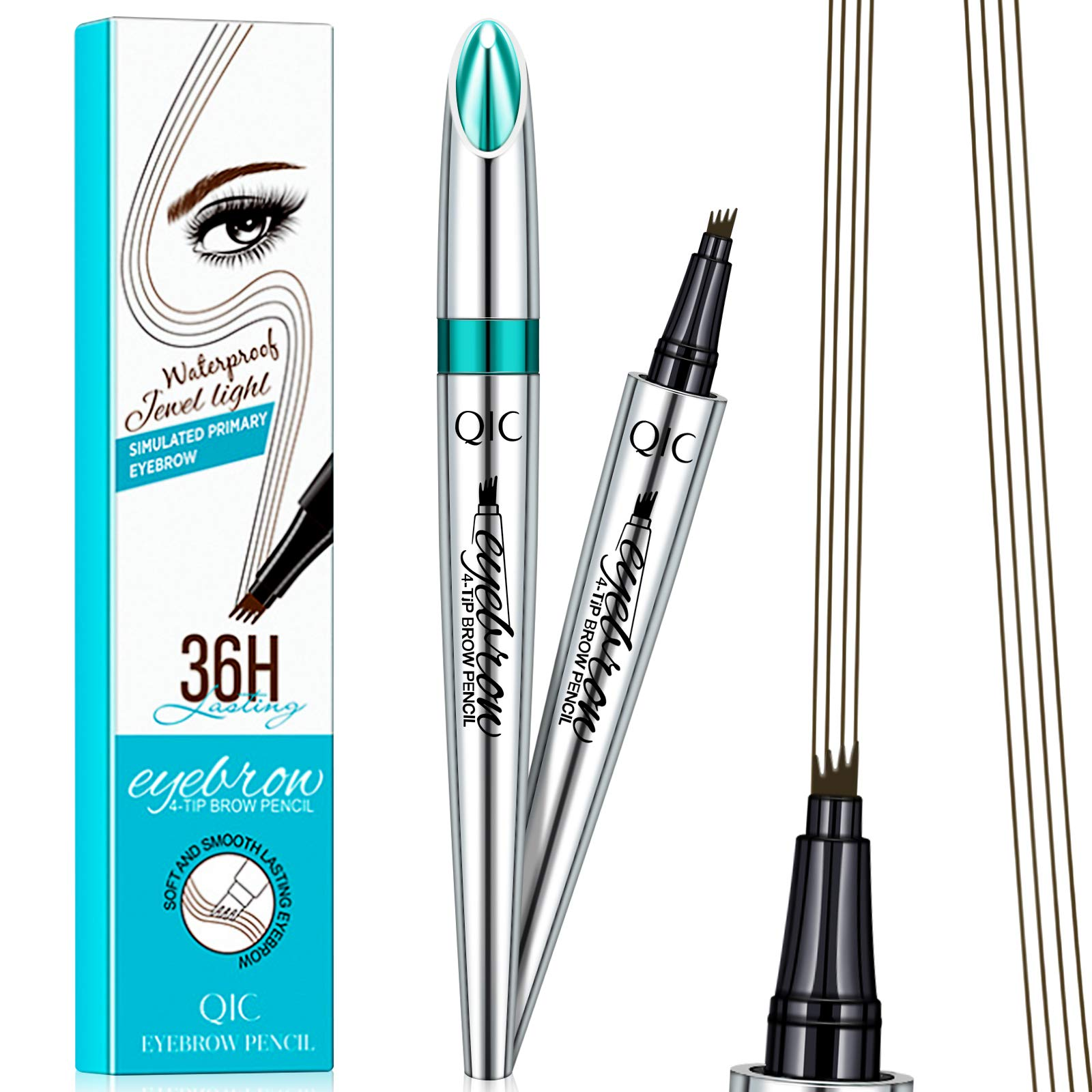 36Hours Super Long Lasting Eyebrow Tattoo Pen - Microblading Liquid Eyebrow Pencil Brow Pen with 4 Micro-Fork Tips to Applicator, Waterproof, Smudge-Proof, All Day Charming Eye Brows Look (Dark-Brown)