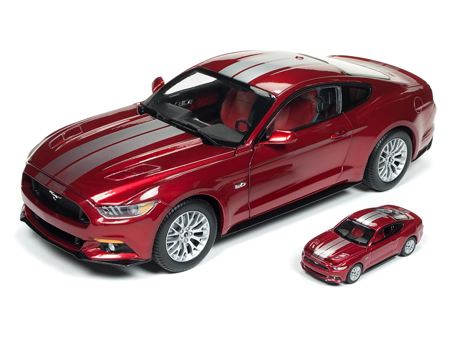 2017 Ford Mustang 5.0 GT Ruby Red Metallic with Silver Stripes 1//18 and 1//64 2 Cars Set Limited Edition to 1002 pieces Worldwide Diecast Model Cars by Autoworld AW245