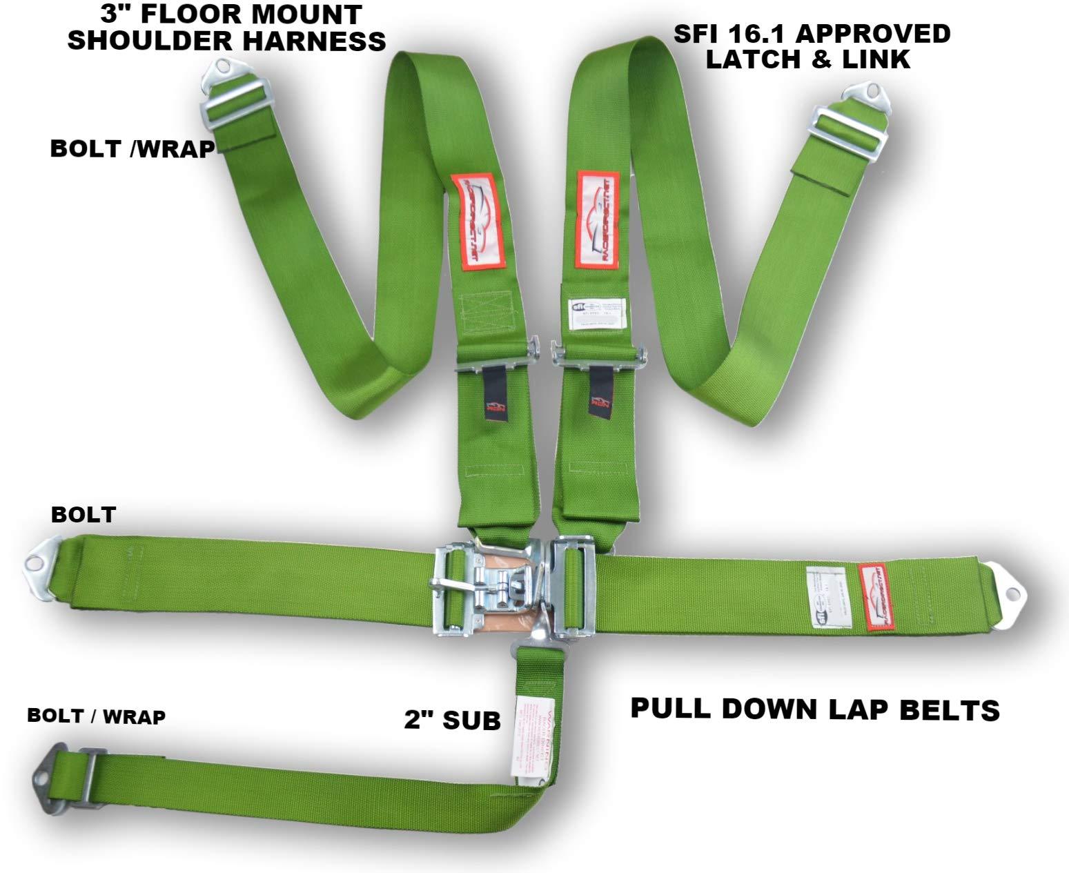 RACERDIRECT 3'' Race Harness Floor Mount Latch & Link Set Belt Lime Green