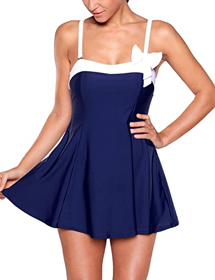 Grapent Women's Plus Size Colorblock Bow Bandeau Swimdress One Piece Swimsuit