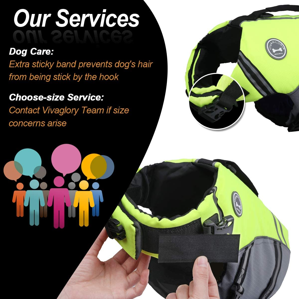 VIVAGLORY New Sports Style Ripstop Dog Life Jacket for Small Dogs with Superior Buoyancy /& Rescue Handle Bright Yellow