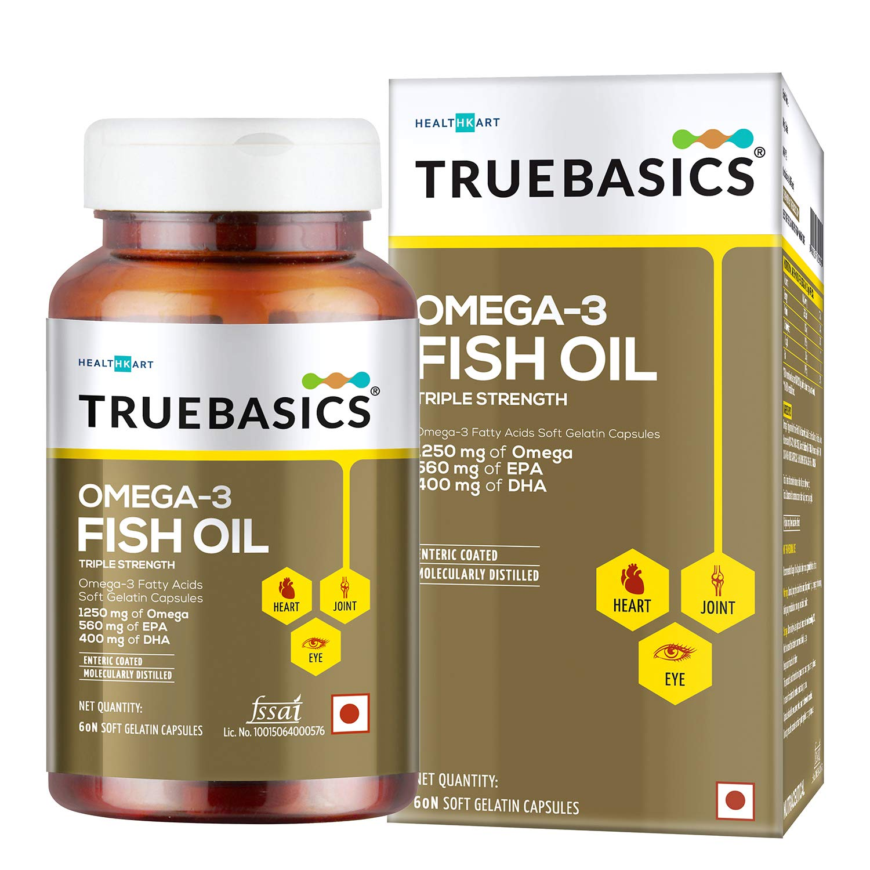TrueBasics Omega-3 Fish Oil Triple Strength with 1250mg of Omega (560mg EPA & 400mg DHA) for Healthy Heart, Eye & Joints…