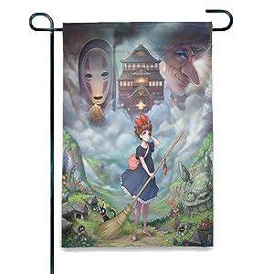 Studio Ghibli Double-Sided Vertical Garden Flag, Spring Summer Autumn Winter Patio Porch Yard Outdoor Decoration, 12.5