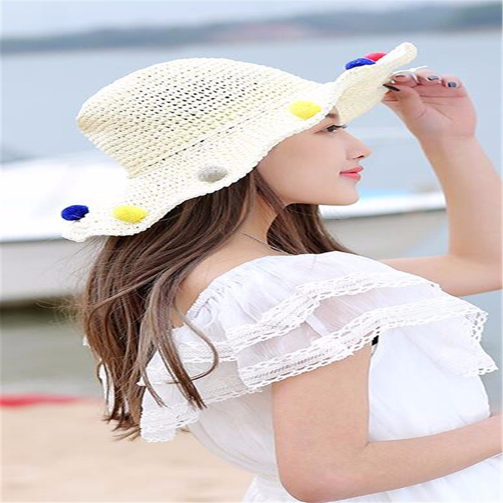 940652d66e5 Amazon.com  RangYR Women Hat Summer Fall Beach Visor Sun Protection Wide-Brimmed  Hat Collapsible Straw Hat Uv Protection Sun Hat Beige  Sports   Outdoors